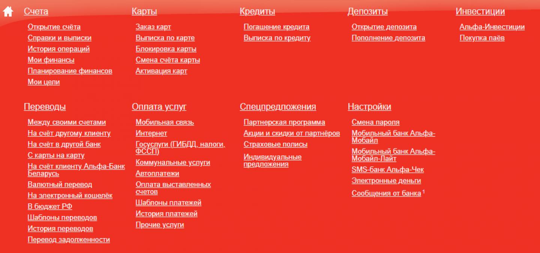 Главное развёрнутое меню Альфа-Клик