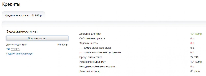 Список оформленных кредитов в личном кабинете Альфа-Клик